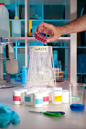 Rapid accumulation of scientific waste in a modern laboratory photo