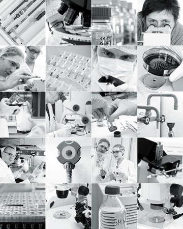tubos fluorescentes: Los científicos y el entorno científico moderno, collage
