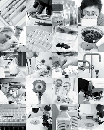 Scientists and modern scientific environment, collage photo