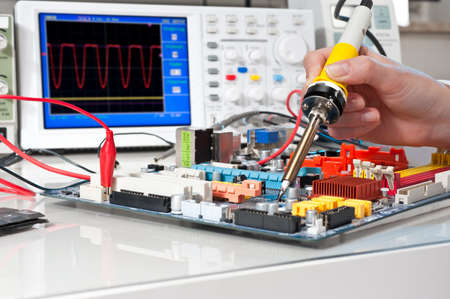 Soldering of electronic equipment photo
