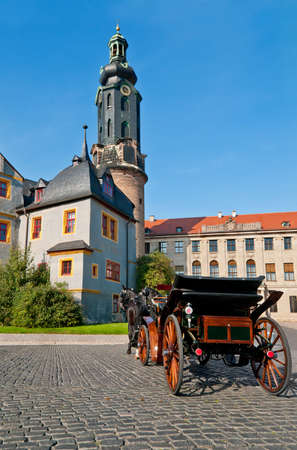Horse carriage in front of Weimar castle, Thuringia, Germany