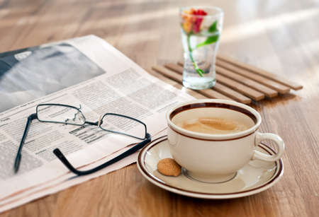hot news: Coffee and financial newspaper in the morning