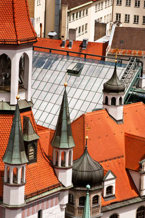 peters: Closeup on Old Town Hall from St. Peters church bell tower in Munich, Germany