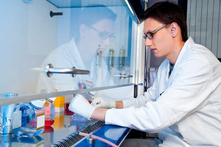 cell biology: Young tech works with cell cultures under sterile hood