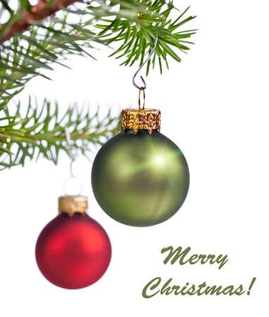 motivos navideños: Decoración del árbol de navidad en el fondo blanco
