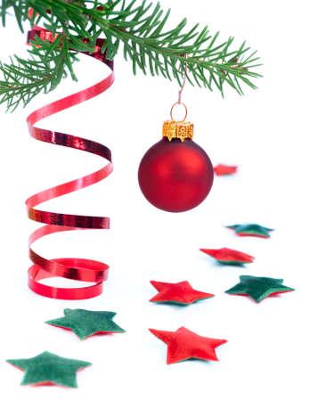 pine needles close up: Xmas decorations on white background Stock Photo