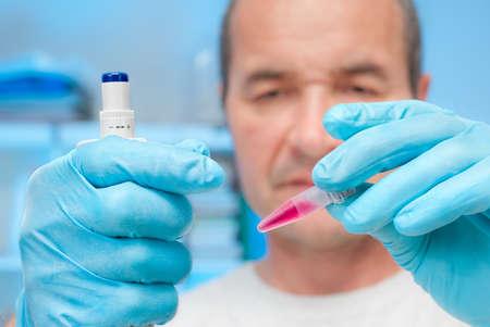 nitril: Liquid biological sample in disposable plastic tube Stock Photo