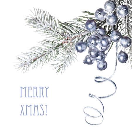 plastic christmas tree: Closeup on decorated Xmas tree twig Stock Photo