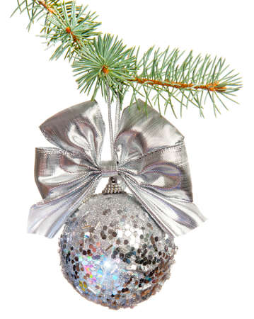 Sparkling Xmas ball isolated on white Stock Photo - 16382470