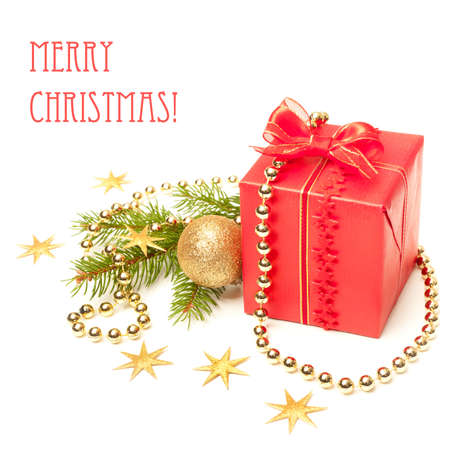 Xmas present and decorations on white background Stock Photo - 16436453
