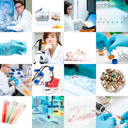 Scientists and laboratory work, collage