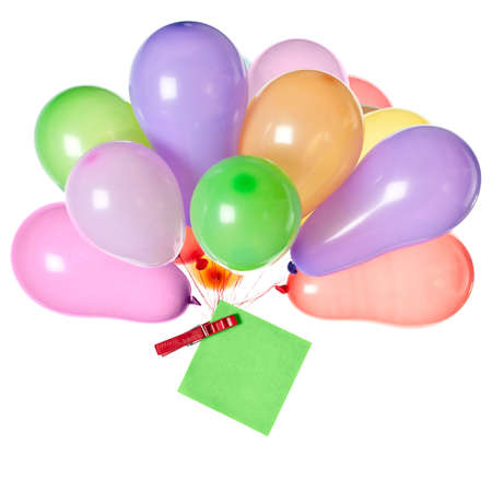 Bunch of balloons with a note pinned to the knot with a peg on white background Stock Photo - 17543757