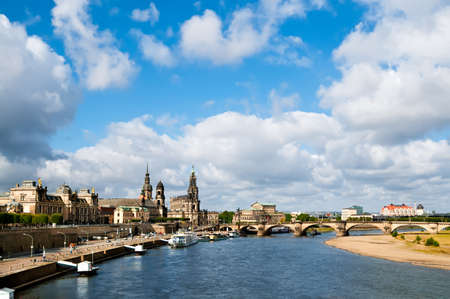 Panorama of Dresden Old Town across the water  photo