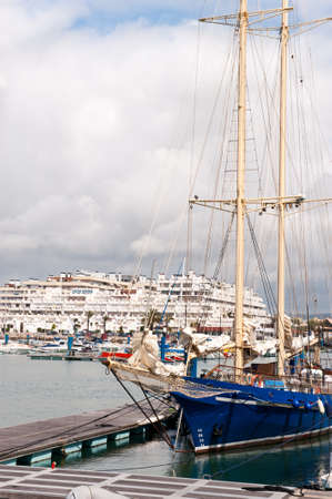 vilamoura: Sailing ship in Vilamoura marina, Portugal Stock Photo