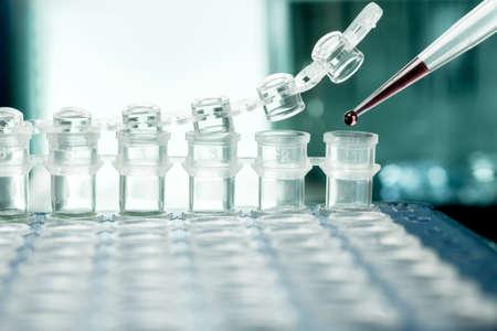 amplification: Gros plan sur les tubes en plastique pour l'amplification de l'ADN