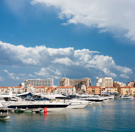 vilamoura: Clouds over Vilamoura marina, Portugal Stock Photo