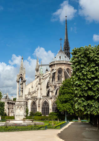 catholocism: Square Jean XXIII behind Notre Dame de Paris on a sunny spring day Stock Photo