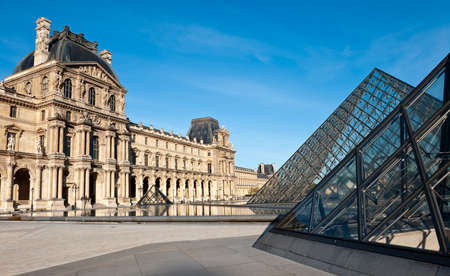 Paris  The glass pyramids in the Napoleon courtyard of the Louvre