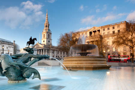 London, fountain on the Trafalgar Square with St  Martin on Fields behind
