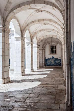 lisboa: Stone arches in Monastery of St. Vincent Outside the Walls, or Iglesia de Sao Vicente de Fora in Lisbon, Portugal