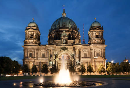 dom: Berlin Cathedral, or Berliner Dom, illuminated at night Stock Photo
