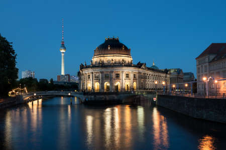 bode: Bode Museum on the Spree River in Berlin at night