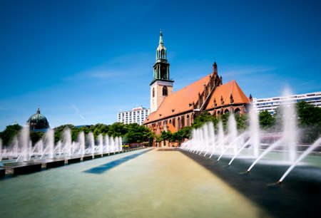 mary's: Fountains on Alexanderplatz in front of St. Marys Church, Berlin Stock Photo