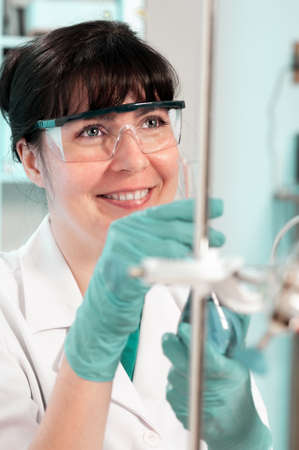 disposable: Scientist works in biological or medical laboratory