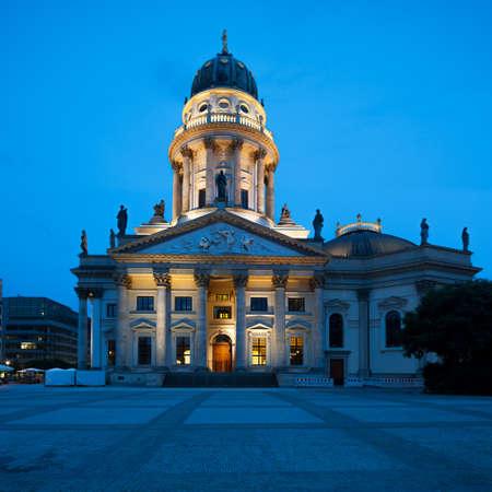 New Church  Deutscher Dom or German Cathedral  on Gendarmenmarkt in the evening photo