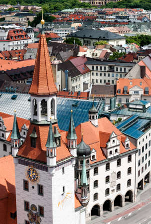 peters: Old Town Hall and rooftops of Munich from St  Peters church bell tower