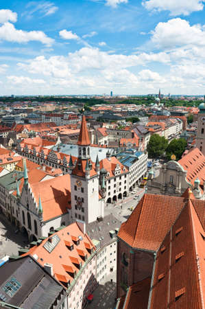bayern old town: Old Town Hall and rooftops of Munich from St  Peters church bell tower