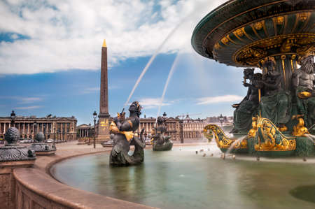 Paris, fountain at Concorde Square   Place de la Concorde  免版税图像