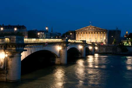 bourbon street: Paris at night   the Pont de la Concorde and Bourbon Palace Editorial