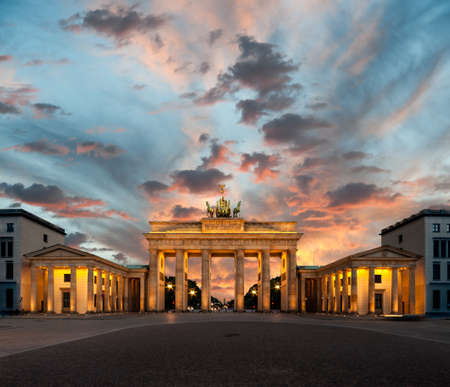 Berlin, Brandenburg Gate at sunset photo