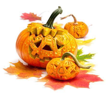 pumpkin head: Halloween pumpkins isolated on white