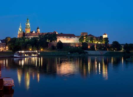 wawel: Poland, Krakow, Wawel at night  Editorial