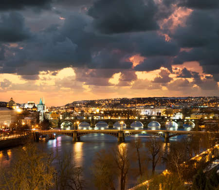 Prague, bridges over Vltava river at night photo