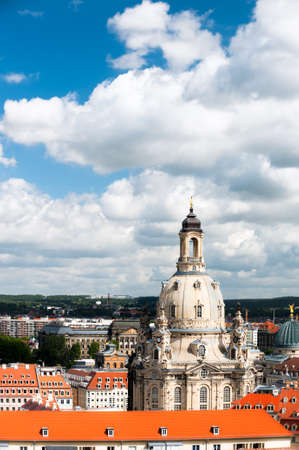 reconstructed: Aerial view over Frauenkirche and roofs of old Dresden in Germany  Stock Photo