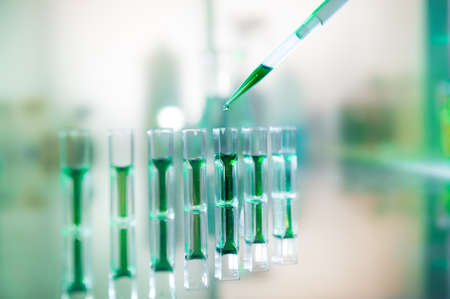 biochemical: Biochemical analysis of protein content using spectrophotometry Stock Photo