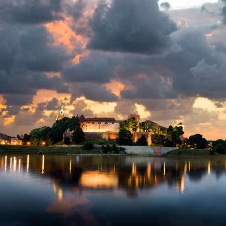 wawel: Poland, Krakow, sunset over Wawel hill