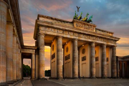 night shift: Brandenburg Gate  Brandenburger Tor  in Berlin, Germany on a sunset