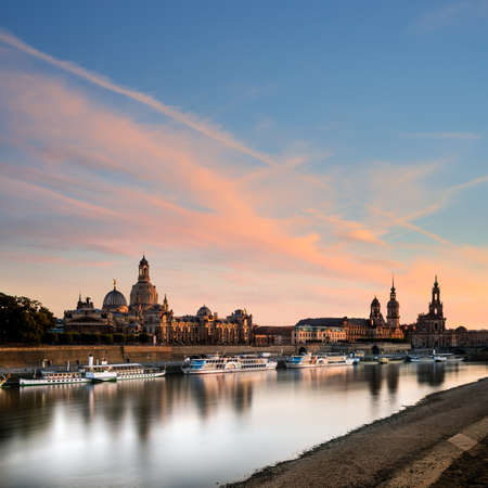 dresden: View of Dresden Old Town over Elbe river at sunset Stock Photo