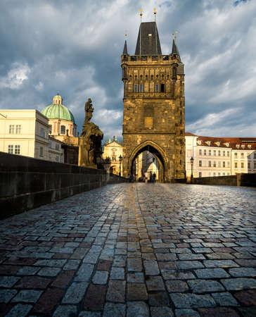 Prague, Charles Bridge in the evening after rain photo