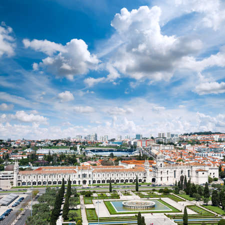 bird view: Bird view over Lisbon with Mosteiro dos Jeronimos