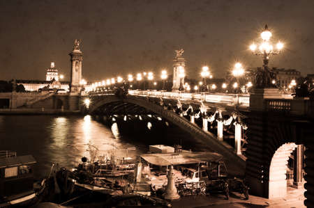 grundge: Aged photo of The Pont Alexandre III in Paris, France  Retro style, vintage paper texture