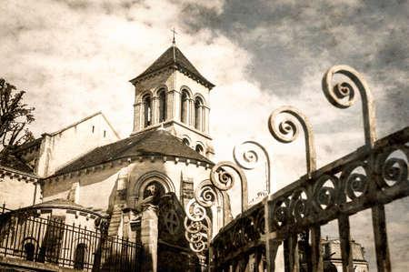grundge: The Church of Saint Peter of Montmartre  Eglise Saint-Pierre de Montmartre  in Paris, aged photo on old paper background Stock Photo