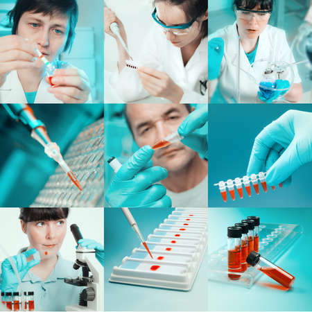 Scientists working with vaus samples, collage Stock Photo - 21687655