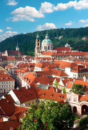 nicolas: St  Nicolas church and roofs of Old Prague, an aerial view Stock Photo