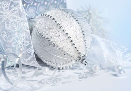 Closeup on Christmas decorations in silver and white photo