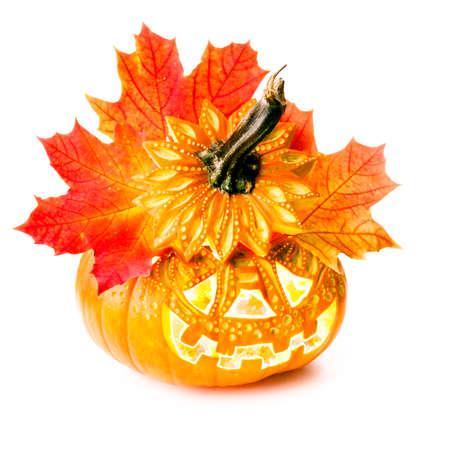 carved pumpkin: Halloween pumpkin on white background